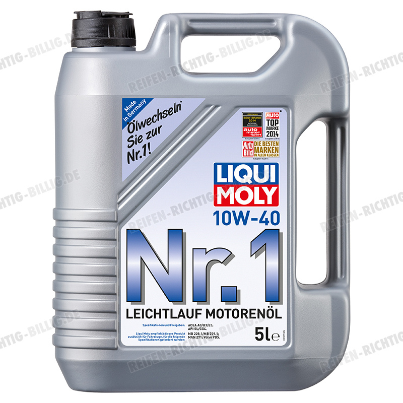 liqui moly nr 1 leichtlauf motor l 10w 40 5 liter g nstig. Black Bedroom Furniture Sets. Home Design Ideas